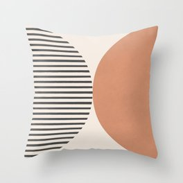 Semicircle Stripes - Terracotta Throw Pillow