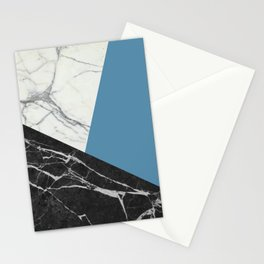 Black and White Marble with Pantone Niagara Stationery Cards