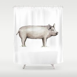 Pig, Farmhouse Painting, Rustic Watercolor Shower Curtain
