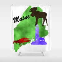 maine Shower Curtains featuring Maine by Nova Jarvis