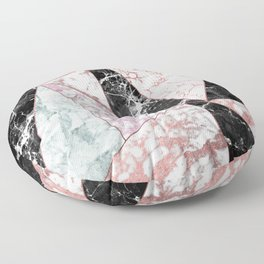Geometrical rose gold black pink marble triangles Floor Pillow
