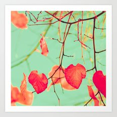 Pastel Heart Leaves Art Print