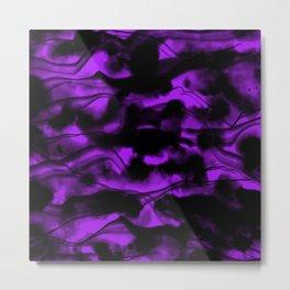 Moody Purple Fog All Over Painting Texture with Streaky Light Leaks. Trendy Abstract Dark Mood Metal Print