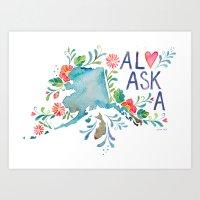 alaska Art Prints featuring Alaska by Grace Wolf