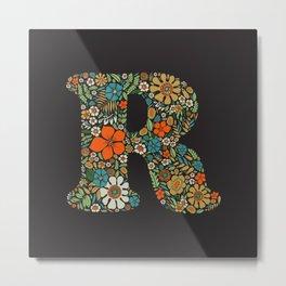 Hippie Floral Letter R Metal Print