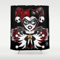 harley quinn Shower Curtains featuring Harley Quinn by Miss Cherry Martini
