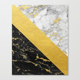 Marble Mix // Gold Flecked Black & White Marble Canvas Print