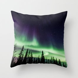 Aurora during geomagnetic storm in Yellowknife, Canada Throw Pillow