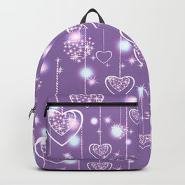 Bright openwork hearts on a lilac background. Backpack