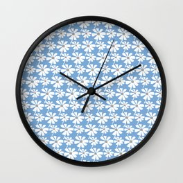 Daisies In The Summer Breeze - Blue Grey White Wall Clock