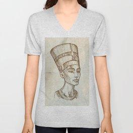 Bust of Nefertiti hand drawn Unisex V-Neck