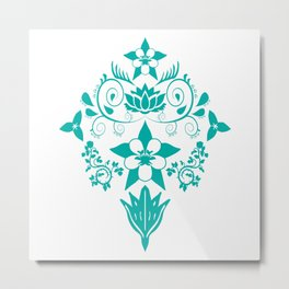 Floral Damask in Teal Metal Print