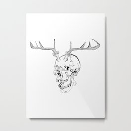 Skull With Antlers Metal Print