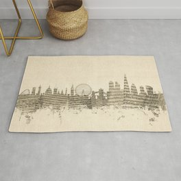 London England Skyline Sheet Music Cityscape Rug