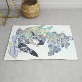 Two Magpies And Flower Bouquet - Antique Japanese Woodcut Print Art - Kono Bairei Rug