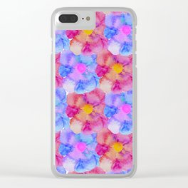 Artsy Pink Blue and Purple Watercolor Flowers Clear iPhone Case