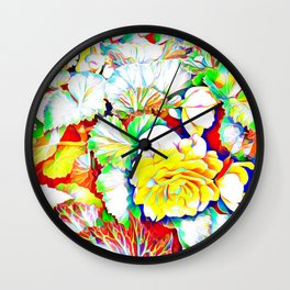 Yellow Begonias with Leaves Wall Clock