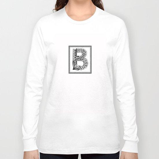 Zentangle B Monogram Alphabet Illustration Long Sleeve T-shirt