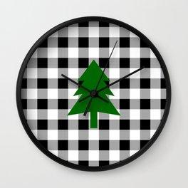 Christmas Tree - black buffalo check Wall Clock