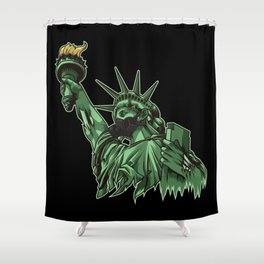 Rotting Statue of Liberty | Anti Government Shower Curtain