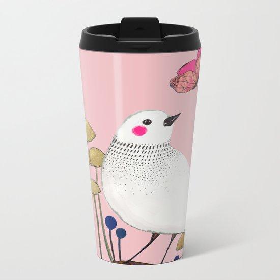 pink wall Metal Travel Mug