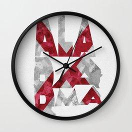 Alabama Typographic Flag Map Wall Clock