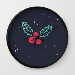Season's Greetings Mistletoe Print Wall Clock