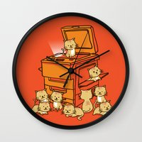 kittens Wall Clocks featuring The Original Copycat by Picomodi