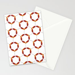 Red Japanese Maple Tree Samara Rounded Hex Pattern Stationery Cards