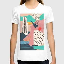 abstract collage with embroidery T-shirt