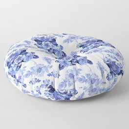 Blue Botanical Toile Floor Pillow