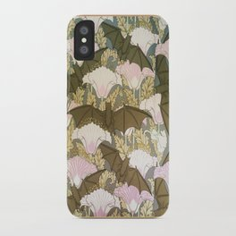 Vintage ART Nouveau Bat Floral Pattern iPhone Case