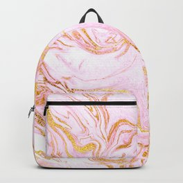 Pink Pastel Swirl Marble With Gold Sparkle Veins Backpack