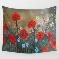 sia Wall Tapestries featuring Impasto Poppy Love - Talins Poppy Love by RokinRonda