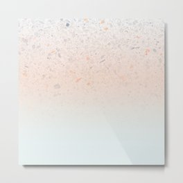 Terrazzo Pastel Colors Soft Fading Gradient Peach+Baby Blue Metal Print