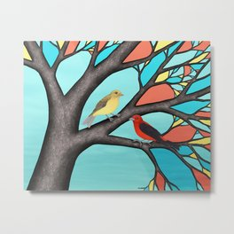 scarlet tanagers in the stained glass tree Metal Print