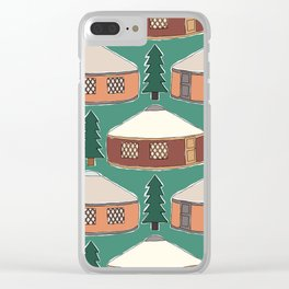 Cozy Yurts -n- Pines Clear iPhone Case