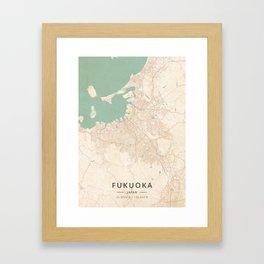 Fukuoka, Japan - Vintage Map Framed Art Print