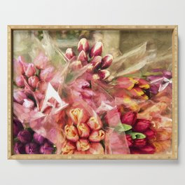 Spoken Without Sound - Flower Art Serving Tray