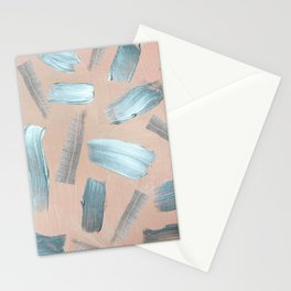 Silver abstract acrylic brush strokes coral watercolor Stationery Cards
