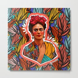 Frida in coral Metal Print
