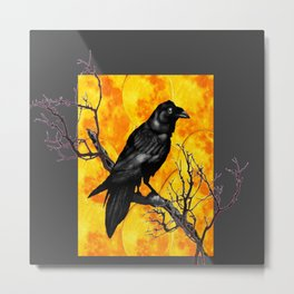 Grey & Gold Pattern  Crow Wildlife Art Metal Print