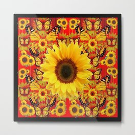 RED COLOR SUNFLOWERS & MONARCH BUTTERFLIES Metal Print