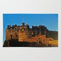 edinburgh Area & Throw Rugs featuring Edinburgh Castle by merialayne