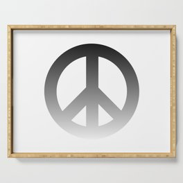 Black Fade CND Peace Symbol on White Serving Tray