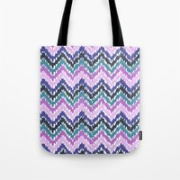 ikat Tote Bags featuring Ikat Chevron by Noonday Design