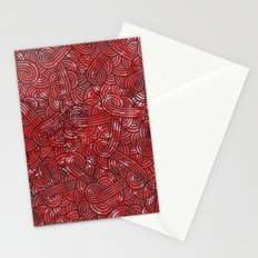 Red and black swirls doodles Stationery Cards