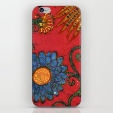 batik butterflies and flowers on red 2 iPhone & iPod Skin