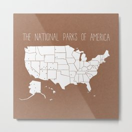 The Hand-Painted National Parks of America Metal Print