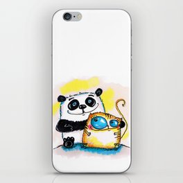 panda and cat iPhone Skin